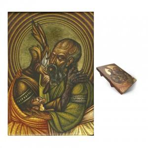 The Cuddle, 21cm x 28cm, Gold leaf, Acrylic on Wooden Panel